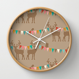 pattern_penny_forest_hideaway_forest_vimmel_rose_society6_clock_smaller